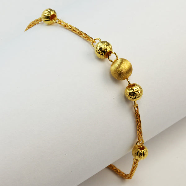 24K Solid Yellow Gold Bead Design Bracelet 6.48 Grams