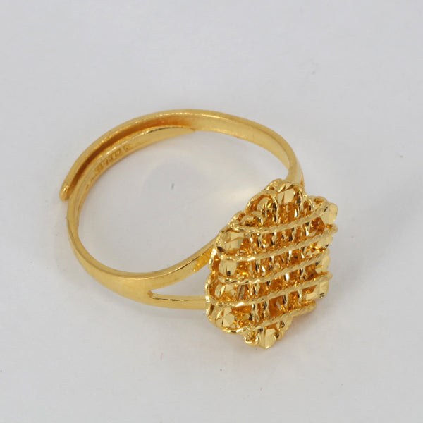 24K Solid Yellow Gold Women Design Ring Band 5.2 Grams
