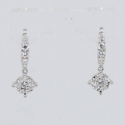 18K Solid White Gold Diamond Hanging Earrings D0.92 CT