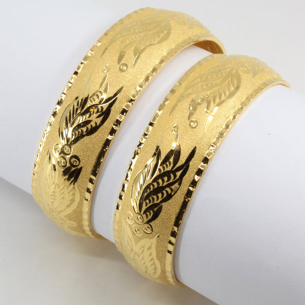 One Pair Of 24K Solid Yellow Gold Wedding Bangles 22.2 Grams