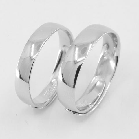 One Pair of Platinum Plain Wedding Band Rings 11.9 Grams Size Adjustable