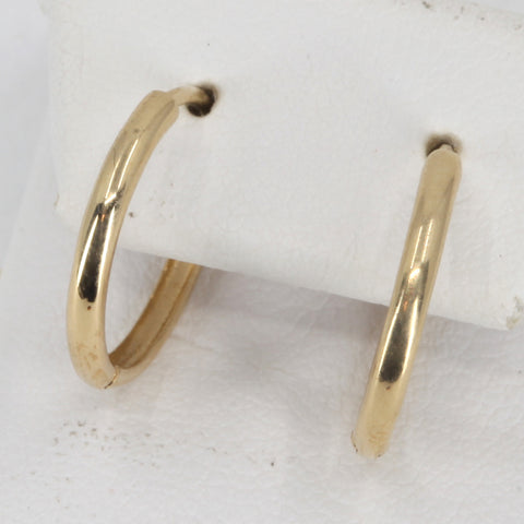 14K Yellow Gold Plain Hoop Earrings 1.0 Grams