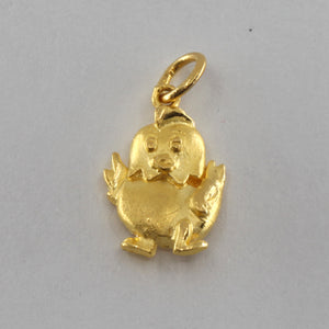 24K Solid Yellow Gold Zodiac Rooster Chicken Pendant 2.4 Grams