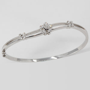18K Solid White Gold Diamond Bangle 0.68 CT