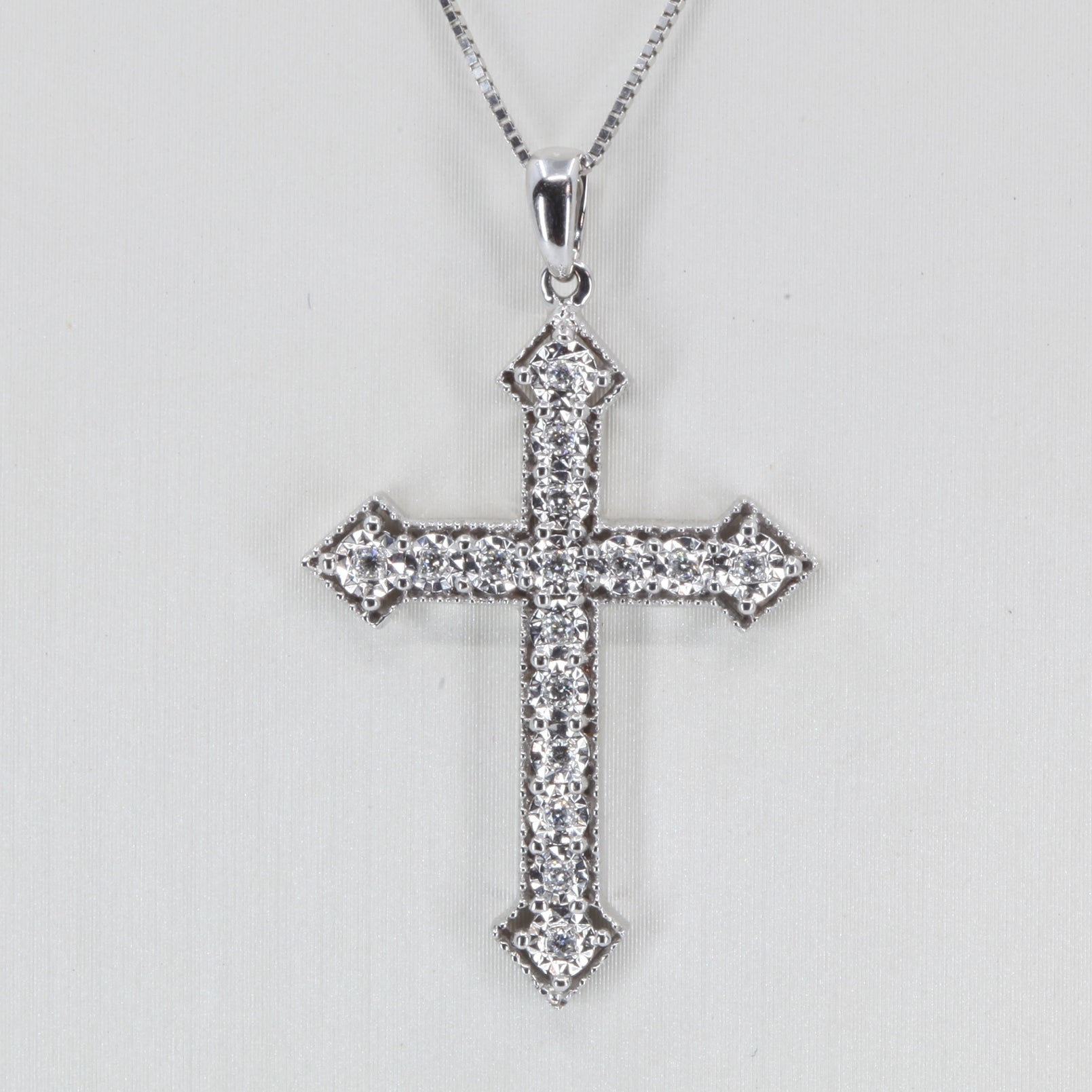 18K Solid White Gold Diamond Cross Pendant D0.13 CT