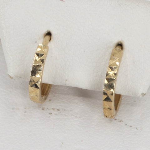14K Yellow Gold Hoop Earrings 0.9 Grams