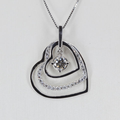 18K Solid White Gold Diamond Heart Pendant D0.65 CT
