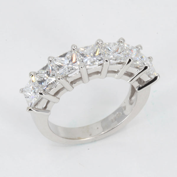 14K Solid White Gold Princess Cut Diamond Ring 3.54CT