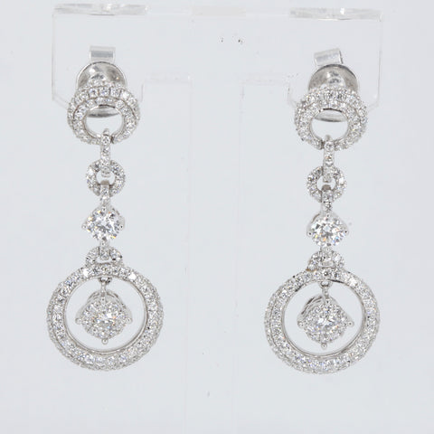 18K Solid White Gold Diamond Hanging Earrings D1.86 CT