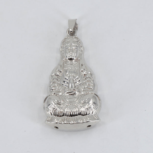 Platinum Guan Yin Goddess Hollow Pendant 4.5 Grams