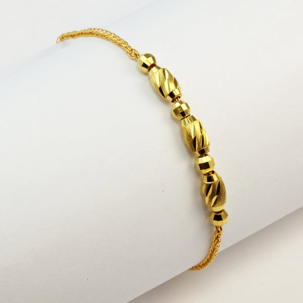 24K Solid Yellow Gold Barrel Bracelet 5.76 Grams