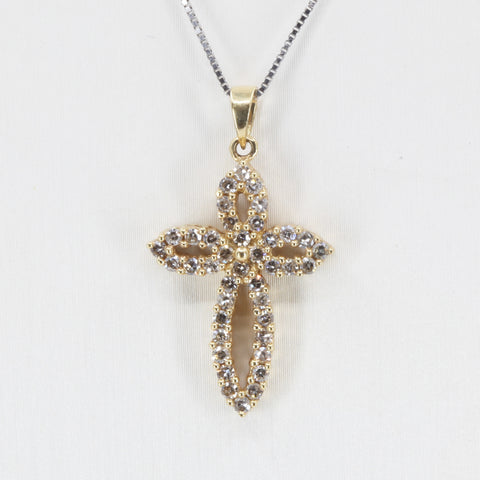 14K Solid Yellow Gold Diamond Cross Pendant D0.57 CT