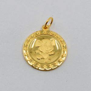 24K Solid Yellow Gold Round Zodiac Pig Hollow Pendant 1.3 Grams