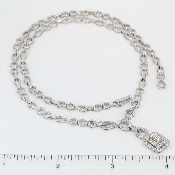 18K Solid White Gold Diamond Necklace 1.86 CT