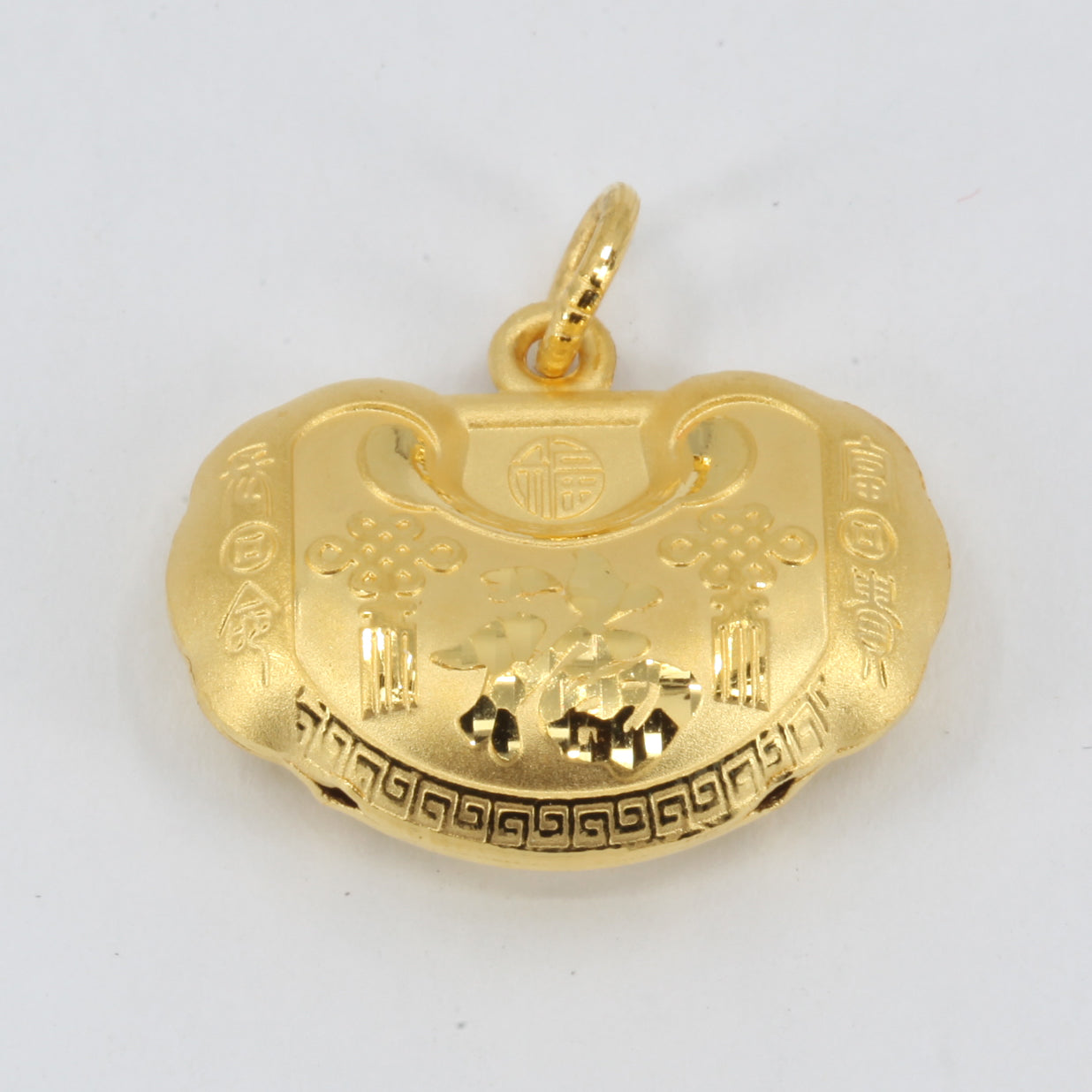 24K Solid Yellow Gold Baby Puffy Longevity Lock Hollow Pendant 4.5 Grams