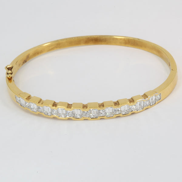18K Solid Yellow Gold Diamond Bangle 5.68 CT