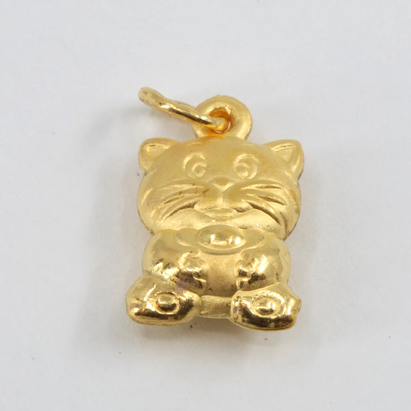 24K Solid Yellow Gold Puffy Zodiac Tiger Pendant 2.5 Grams