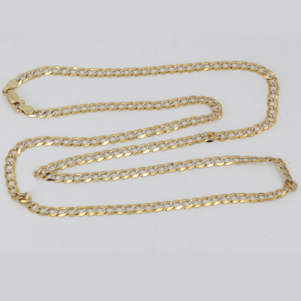 "14K Solid Yellow Gold Stone Cut Cuban Link Chain 24"" 9.8 Grams"