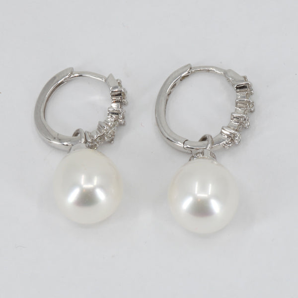 14K White Gold Diamond White Culture Pearl Hanging Earrings D0.38 CT