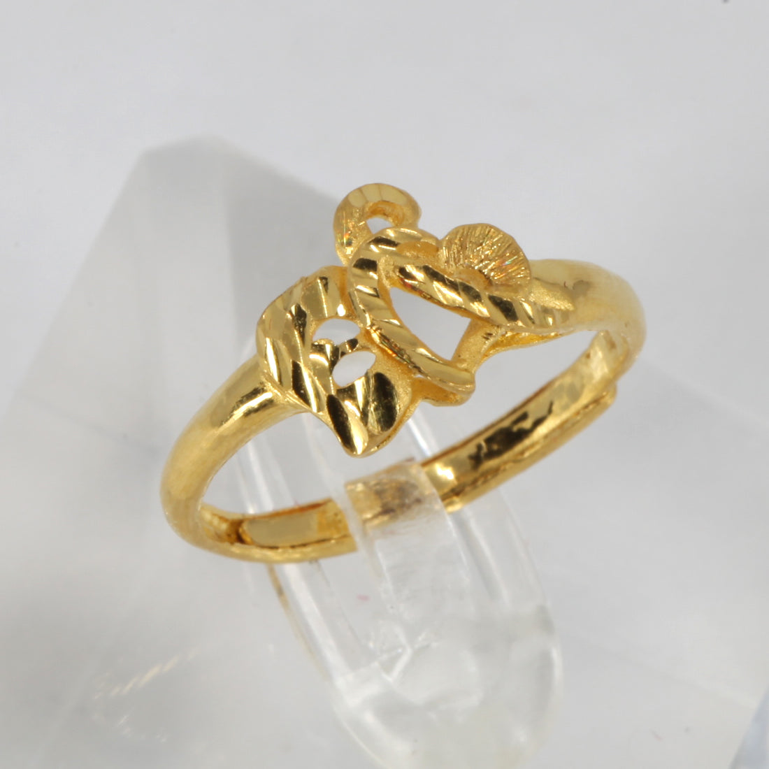 24K Solid Yellow Gold Women Double Heart Ring Band 3.2 Grams