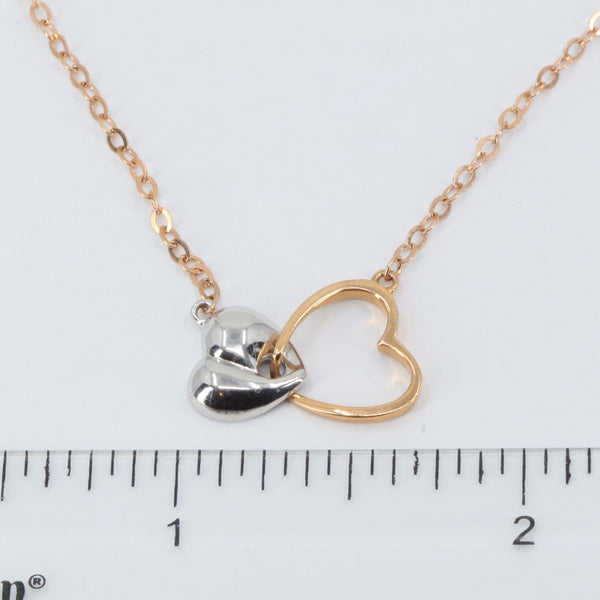 "18K Solid Rose White Gold Round Link Chain Necklace with Heart Pendant 16"" 3.1 Grams"