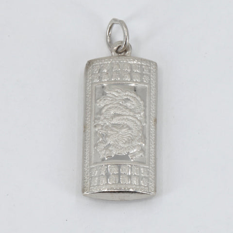 Platinum Dragon Blessed Hollow Pendant 3.8 Grams