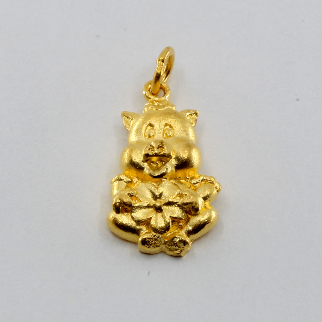 24K Solid Yellow Gold 3D Cute Zodiac Pig Pendant 3.6 Grams