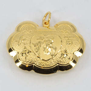 24K Solid Yellow Gold Baby Puffy Blessed Longevity Lock Hollow Pendant 10.7 Grams