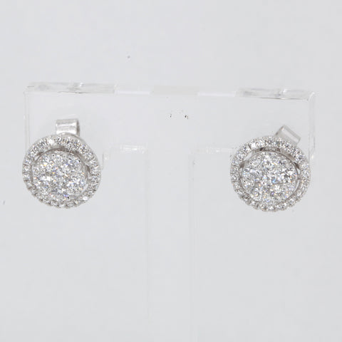 18K Solid White Gold Diamond Stud Earrings D0.88 CT