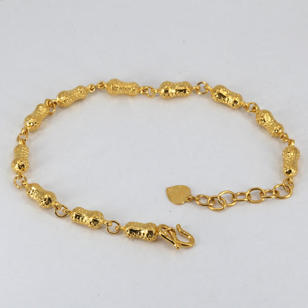 24K Solid Yellow Gold Peanut Design Bracelet 7.4 Grams