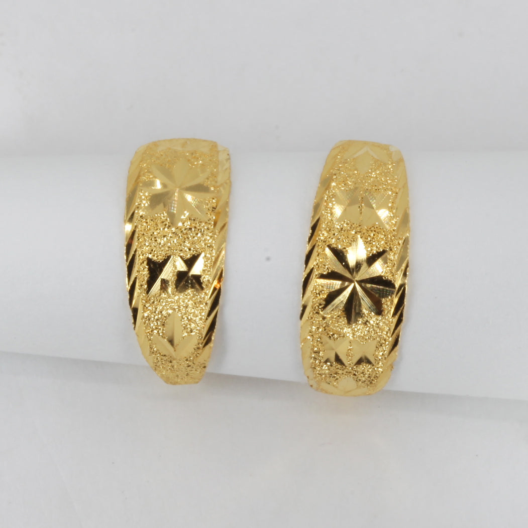 24K Solid Yellow Gold Star Hoop Earrings 2.4 Grams