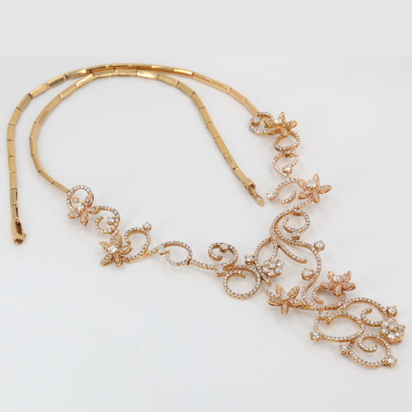 18K Solid Rose Gold Diamond Necklace 4.73 CT