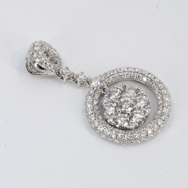 18K White Gold Diamond Circle Flower Pendant D2.28 CT