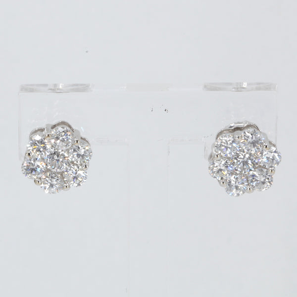 18K Solid White Gold Diamond Stud Earrings D2.02 CT