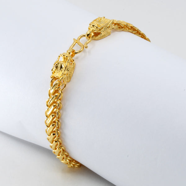 24K Solid Yellow Gold Men Twin Dragon Bracelet 20.4 Grams