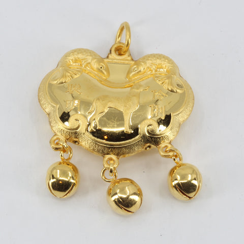 24K Solid Yellow Gold Baby Puffy Dog Longevity Lock with Bells Hollow Pendant 6.4 Grams