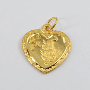24K Solid Yellow Gold Heart Zodiac Tiger Hollow Pendant 1.3 Grams