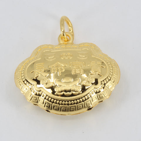 24K Solid Yellow Gold Baby Puffy Blessed Longevity Lock Hollow Pendant 3.2 Grams