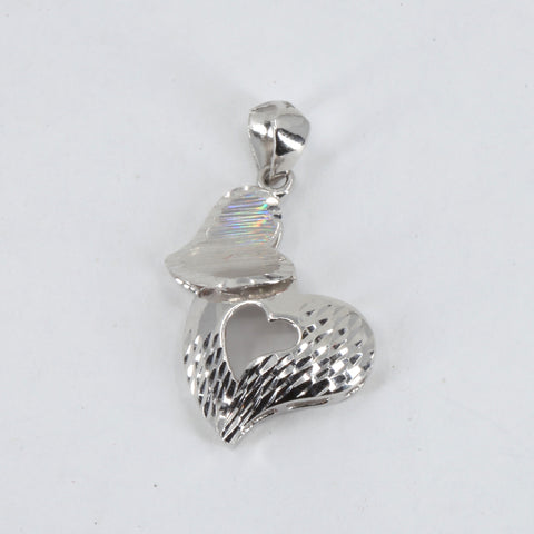 Platinum Double Heart Pendant 2.7 Grams