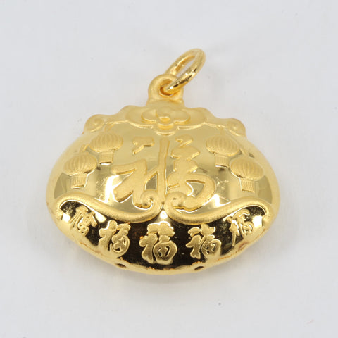 24K Solid Yellow Gold Baby Puffy Blessed Longevity Lock Hollow Pendant 4.9 Grams