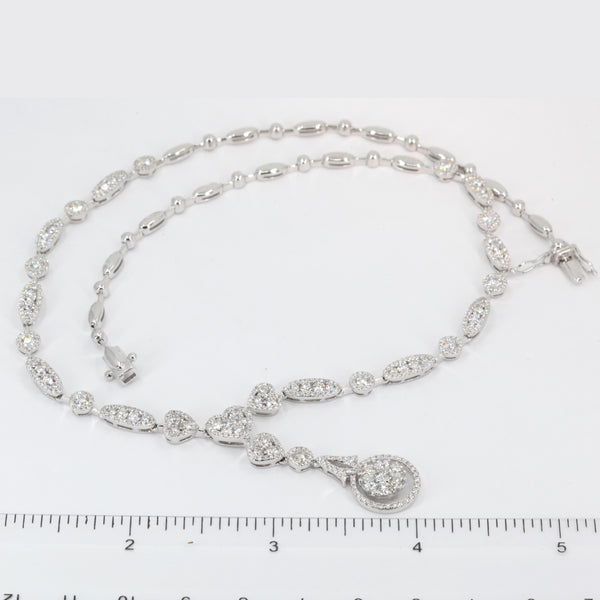 18K Solid White Gold Diamond Necklace 5.68 CT