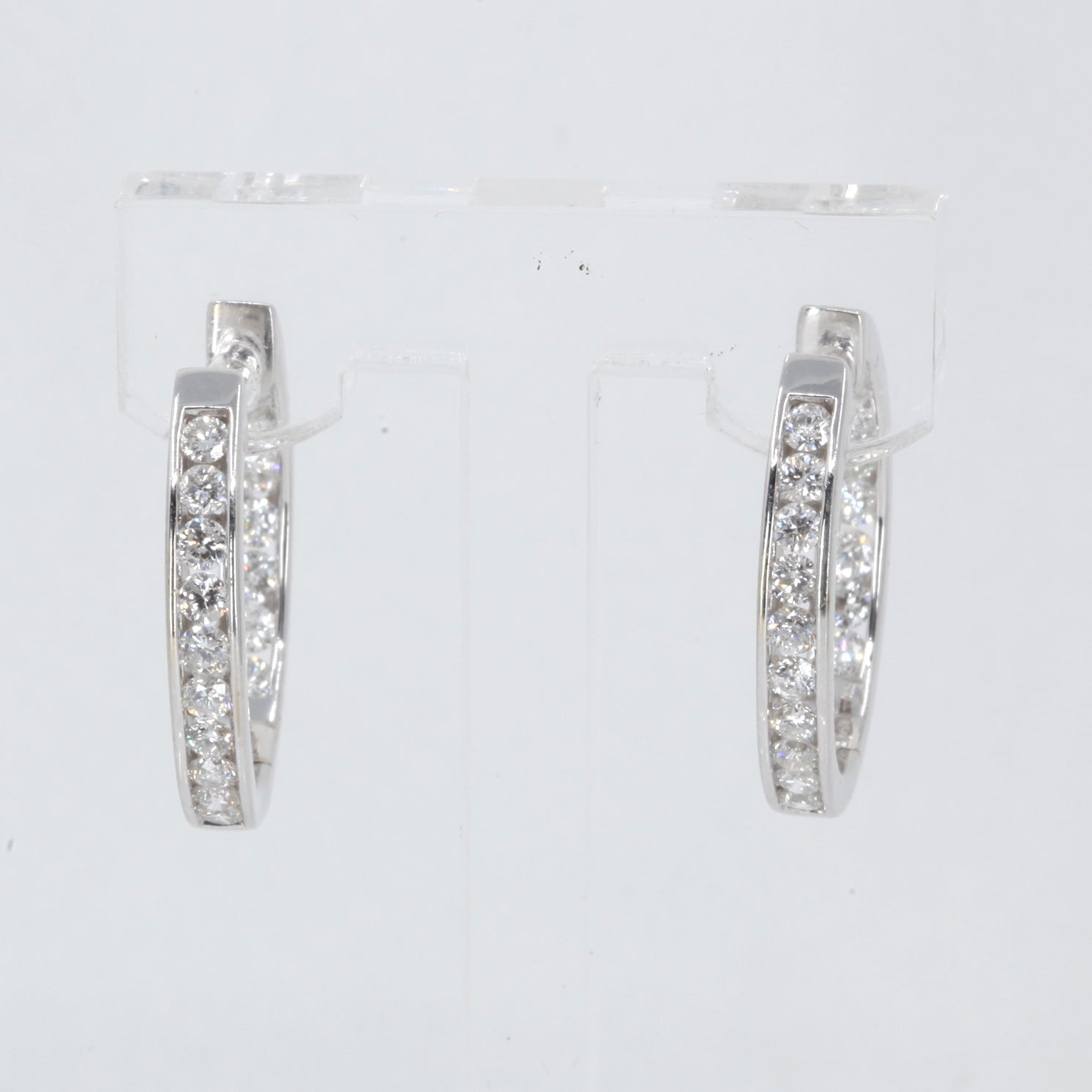 18K Solid White Gold Diamond Hoop Earrings D1.68 CT