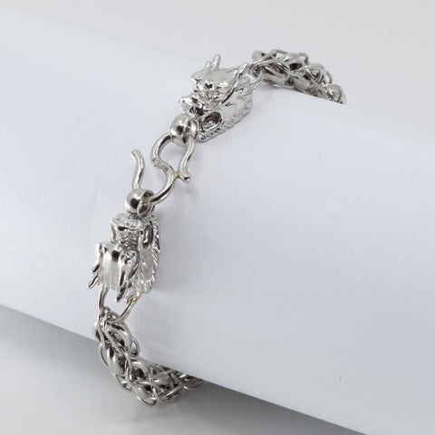 Platinum Men Twin Dragon Bracelet 41.3 Grams