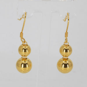 24K Solid Yellow Gold Double Sphere Hanging Earrings 7.1 Grams