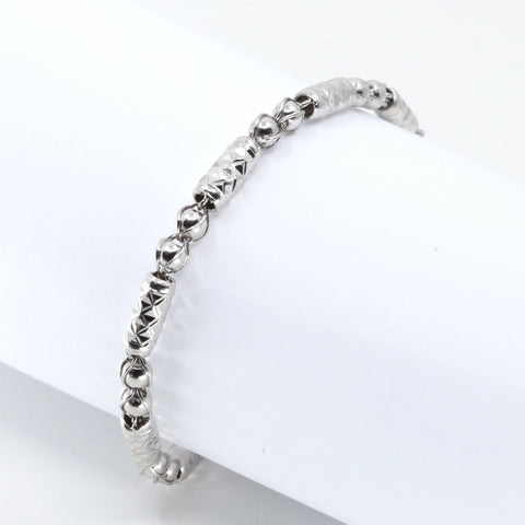 Platinum Men Barrel Link Bracelet 14.4 Grams