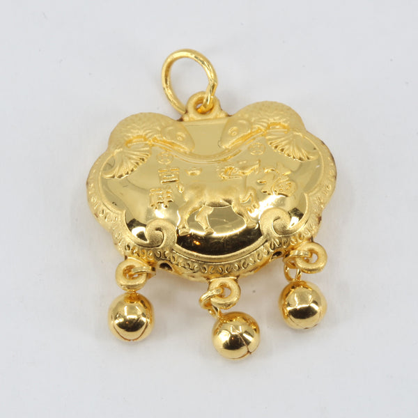 24K Solid Yellow Gold Baby Puffy Sheep Longevity Lock with Bells Hollow Pendant 3.8 Grams