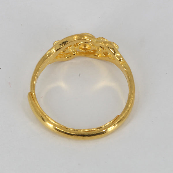 24K Solid Yellow Gold Women Design Adjustable Ring Band 3.7 Grams