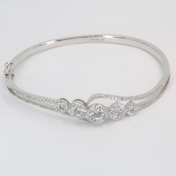 18K Solid White Gold Diamond Bangle 1.86 CT