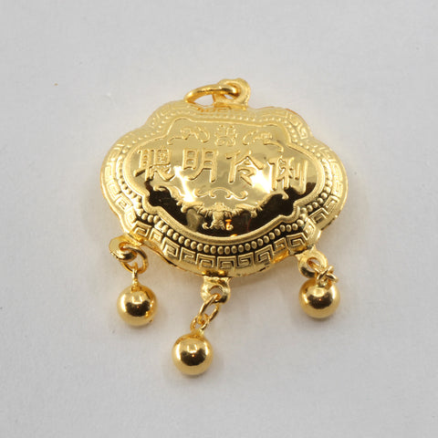 24K Solid Yellow Gold Baby Puffy Longevity Lock with Bells Hollow Pendant 3.8 Grams