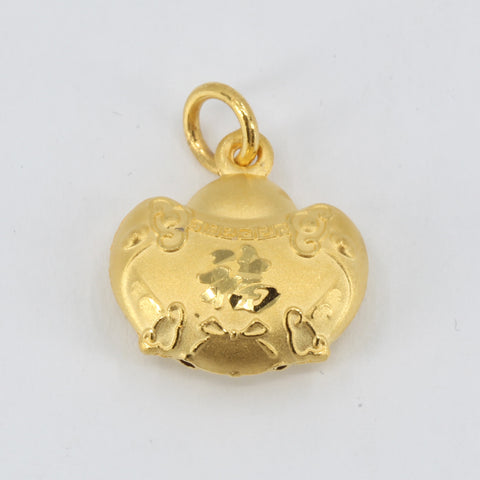 24K Solid Yellow Gold Baby Puffy Blessed Longevity Lock Hollow Pendant 2.7 Grams